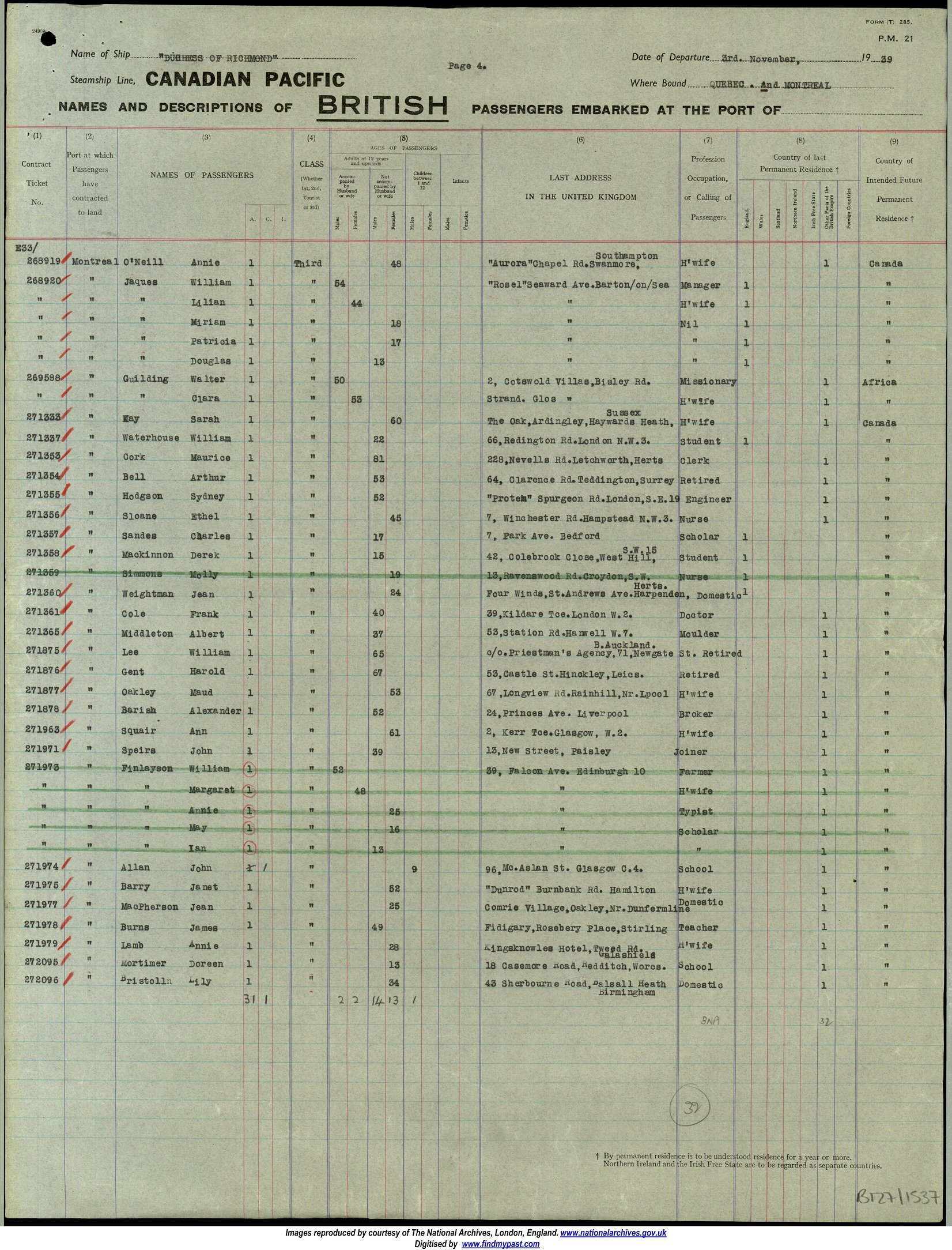 Passenger list Liverpool to Montreal 1929