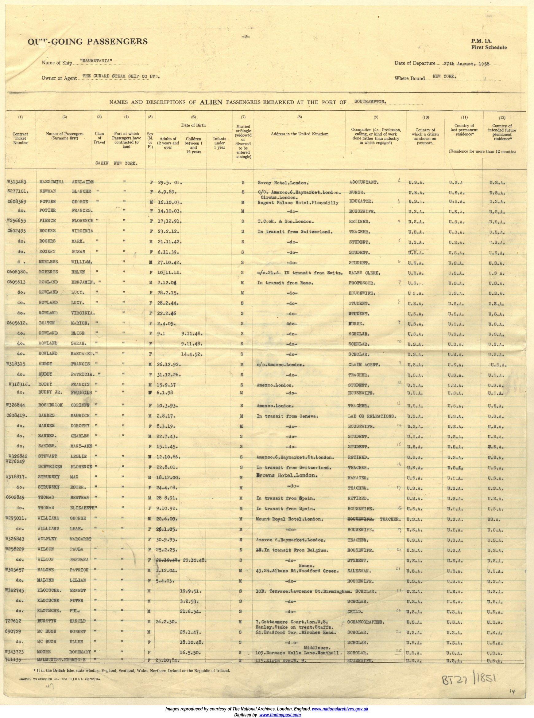 Passenger list Southampton to New York 1958