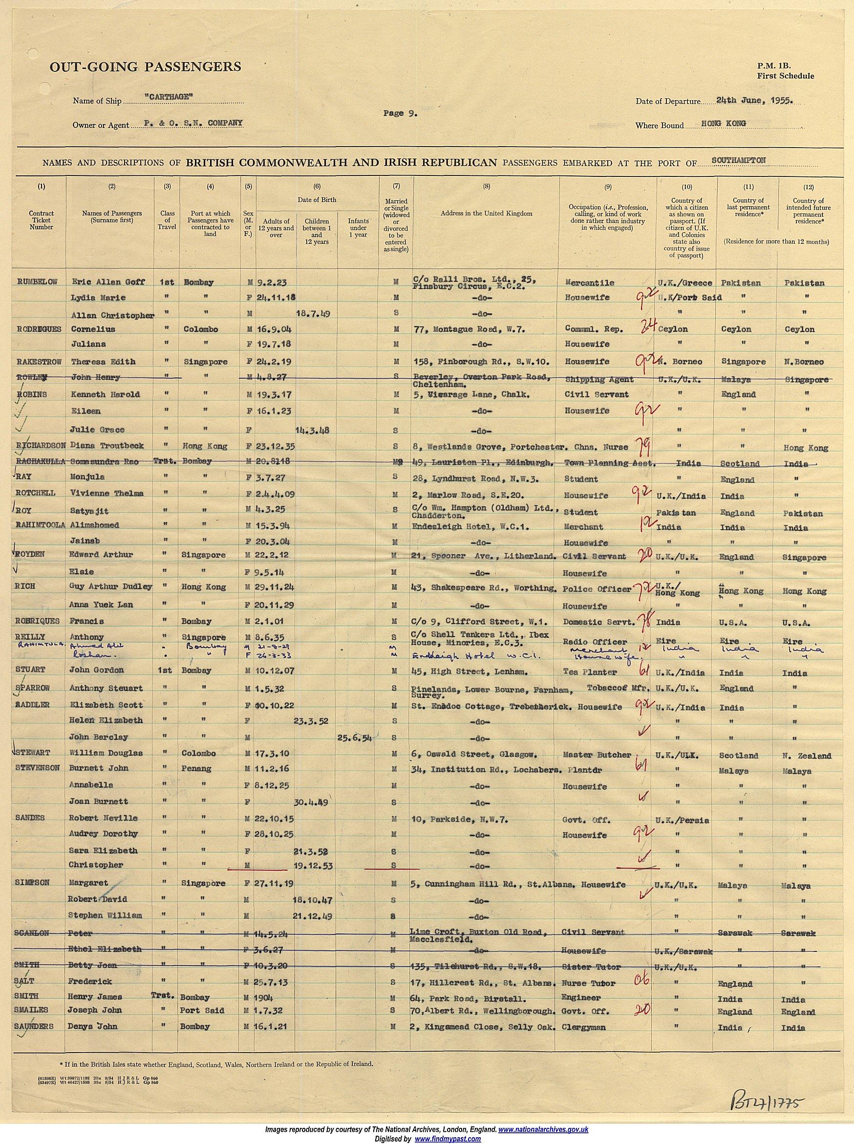 Passenger list Southampton to Hong Kong 24 June 1955