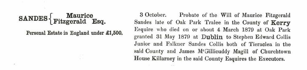 Probate record for Maurice Fitzgerald Sandes