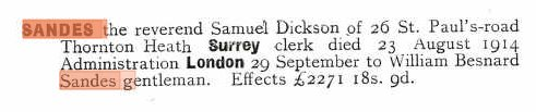 British Will entry for Samuel Dickson Sandes