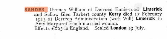 Probate record for Thomas William Sandes