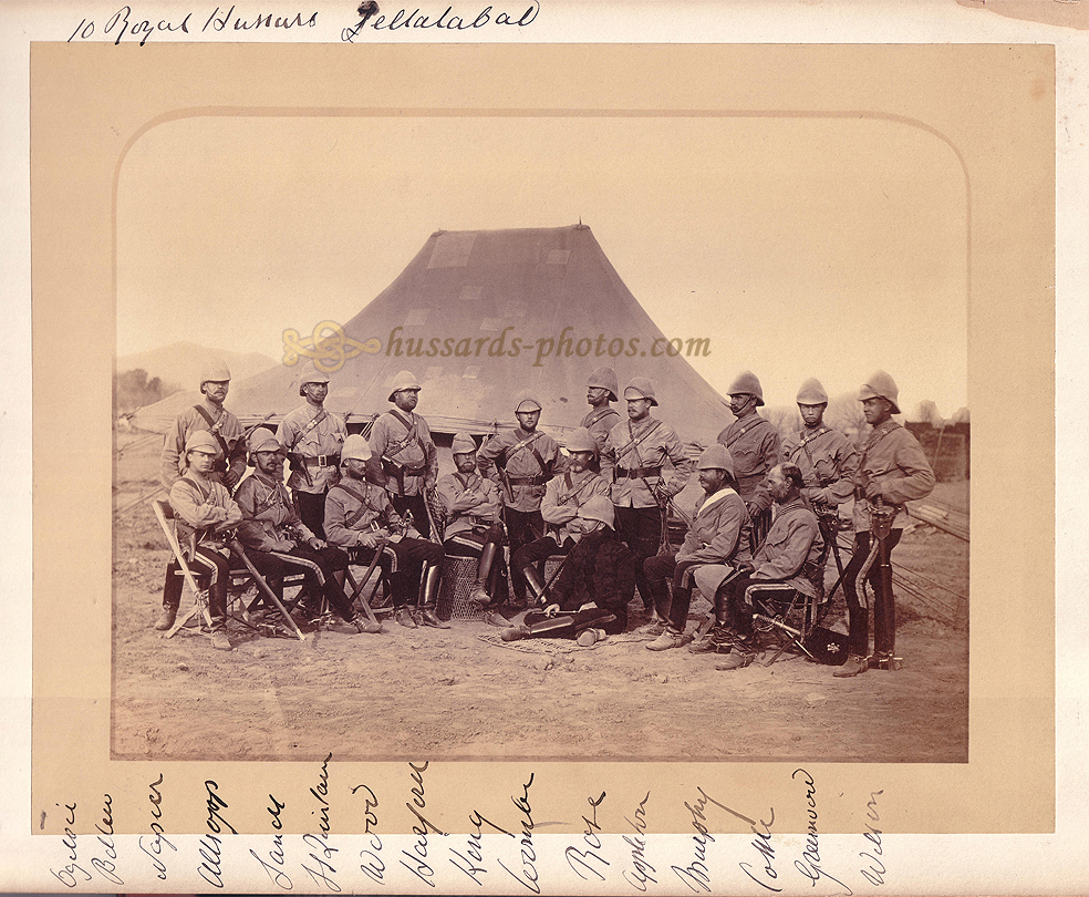 Officers of the 10th Hussars at Jallalabad, Afghanistan, 1879