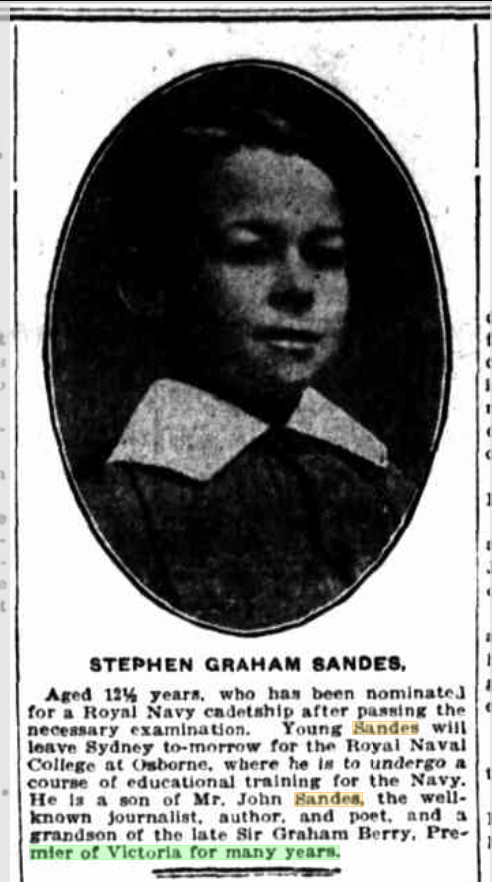 Stephen Graham Sandes - The Sun (Sydney, NSW : 1910 - 1954) Fri 24 Nov 1911 Page 1